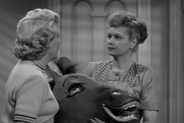 That horse's headis giving more attention to Ethel than Fred ever did.