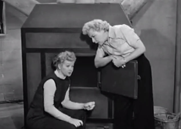 I Love Lucy S02 E03 Lucy and Ethel listen at furnace