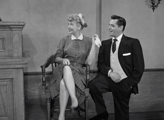 I Love Lucy S02 E07 Lucy shows off leg to judge