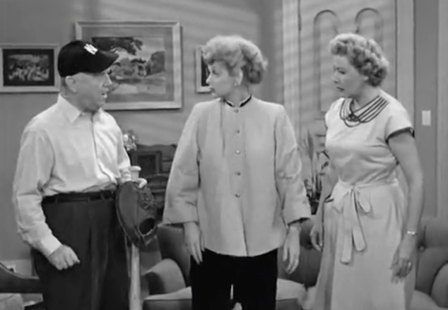 I Love Lucy S02 E10 Fred with baseball stuff