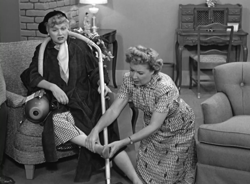 I Love Lucy S02 E17 Lucy with vacuum Ethel with feet